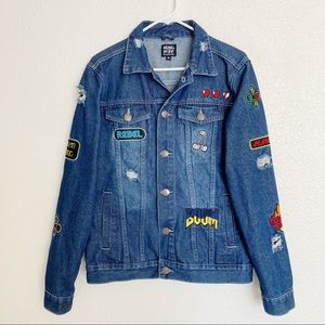 Rebel Star Denim Jacket Patches Game Over Rare S